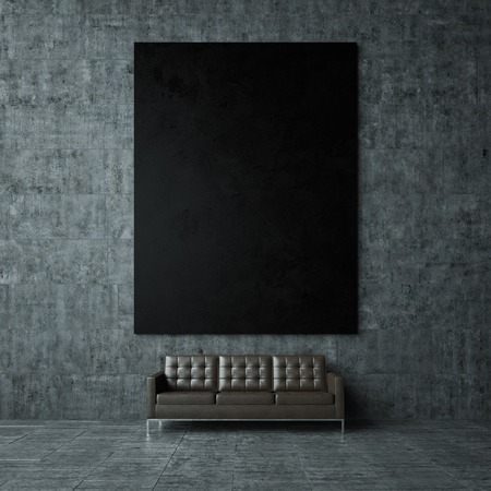 Blank mockup of black poster on the grey concret wall and vintage leather sofa