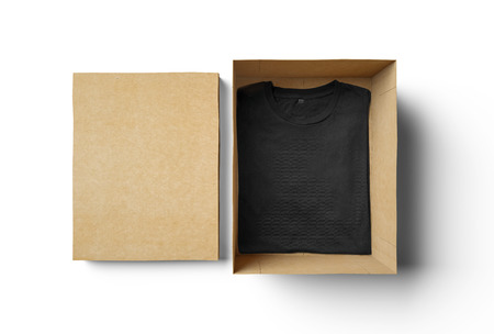 merchandise: Empty rectangle shape box made of cardboard and black blank tshirt