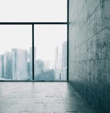 panoramic windows: Panoramic windows and cocrete wall with panoramic view on the background.
