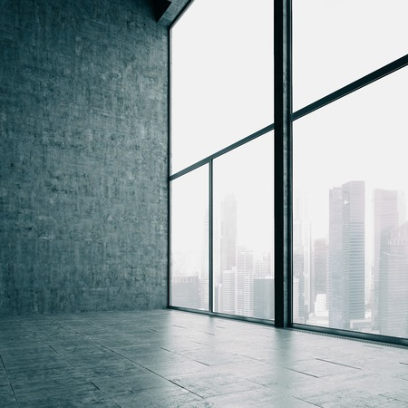 living room wall: Panoramic windows and cocrete wall with panoramic view on the background.