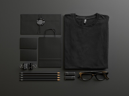Set of black tshirt and identity elements on black background Фото со стока