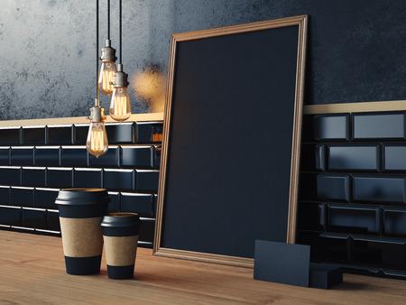 Zwarte poster op tafel met lege koffie kopjes, visitekaartjes en vintage lampen