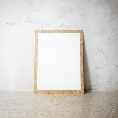 wood sign: Mockup of Blank wooden and natural picture frame on a cocrete wall Stock Photo