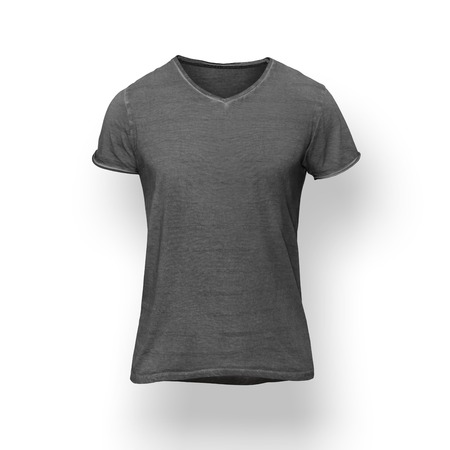 Dark grey t-shirt isolated on white wall
