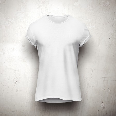 man t shirt: White t-shirt isolated on the grey wall