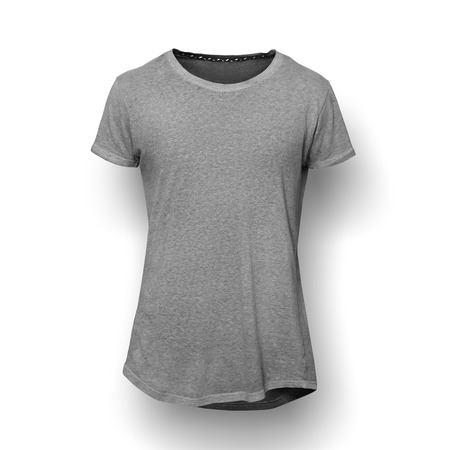 blank t shirt: Dark grey t-shirt isolated on white wall background