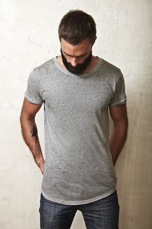 t shirt model: Portrait of a bearded guy wearing blank t-shirt Stock Photo