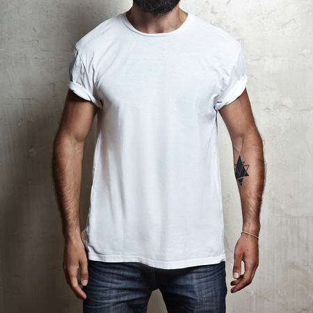 t shirt model: Close-up of a muscular man wearing blank t-shirt