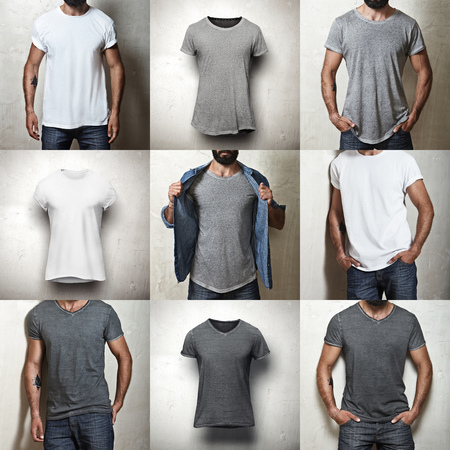 camisa: Conjunto de imágenes de diferentes camisetas en blanco