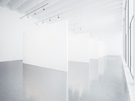 concrete floor: Mock up of empty white gallery interior with concrete floor