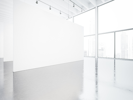 exhibitions: Mock up of empty white gallery interior with concrete floor