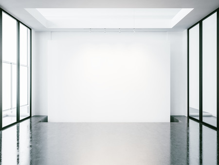 hormig�n: Mock up of empty white gallery interior with concrete floor