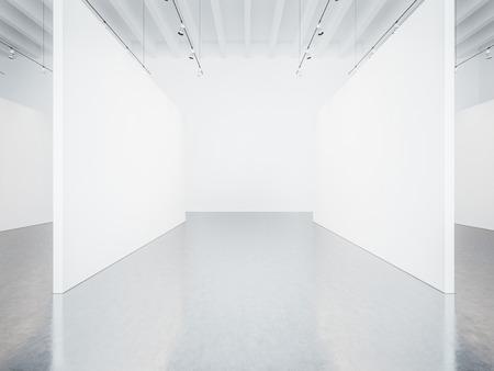 gallery interior: Mock up of empty white gallery interior with concrete floor