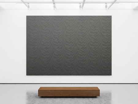 Mock up of empty white gallery interior with black canvas