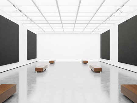 art museum: Mock up of empty white gallery interior with black canvas