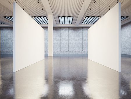 mockup: Mock up of empty white gallery interior with white canvas