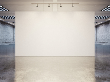 museums: Mock up of empty white gallery interior with white canvas