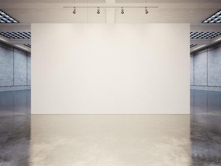 Wyśmiewać się z pustym białym Galeria wnętrza z białego płótna