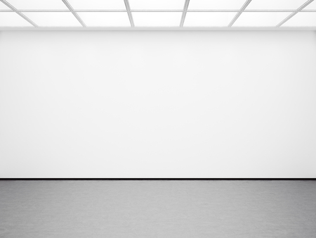 Mock up of empty white gallery interior with concrete floor