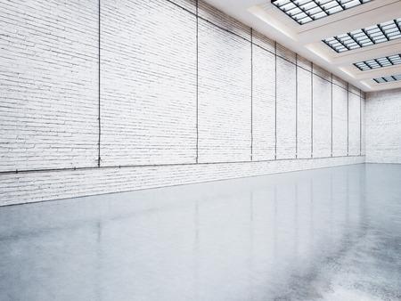 Mock up of empty white gallery interior with concrete floor