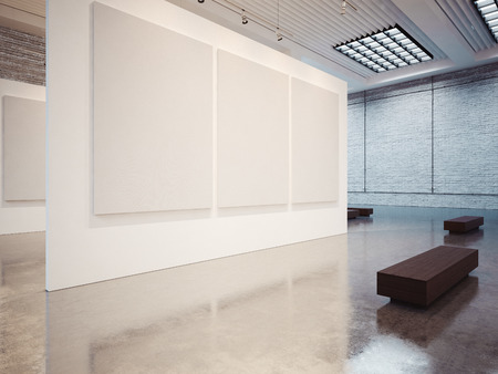 gallery interior: Mock up of empty white gallery interior with white canvas
