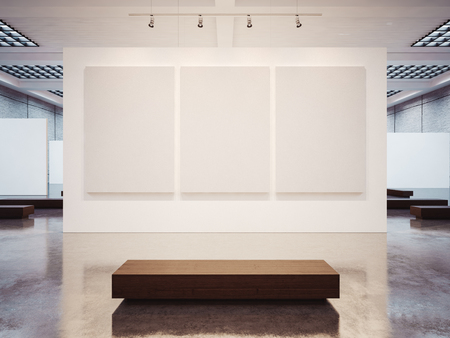 exhibitions: Mock up of empty white gallery interior with white canvas