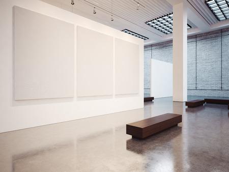 Mock up di vuoto galleria interno bianco con tela bianca