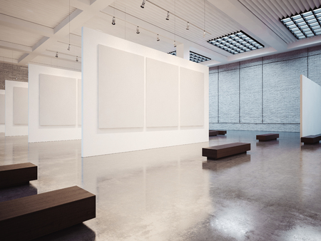 Mock up of empty white gallery interior with white canvas