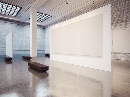 白いキャンバスと空の白いギャラリー インテリアのモックアップします。