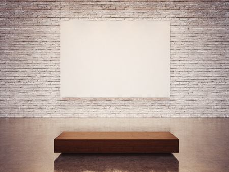 exhibition: Mock up of empty white gallery interior with white canvas