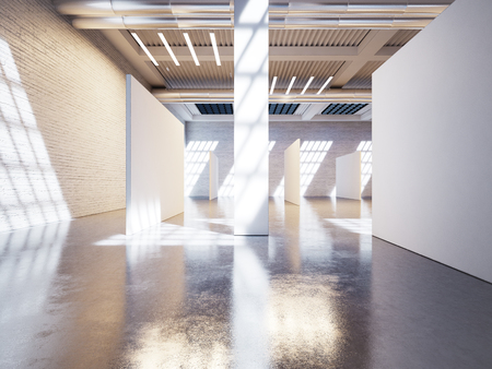 exhibition hall: Mock up of modern white gallery interior with white canvas