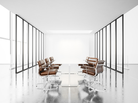 interior spaces: Empty meeting room with panoramic windows, armchairs