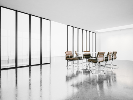 Empty meeting room with panoramic windows, armchairs