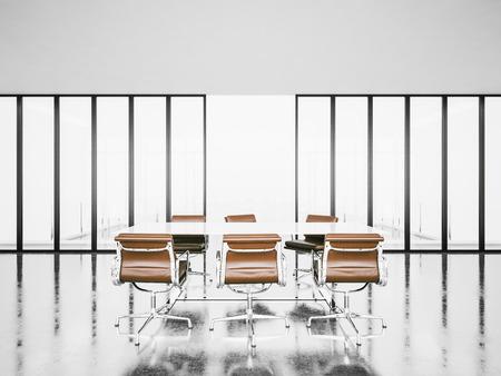 panoramic windows: Empty meeting room with panoramic windows, armchairs