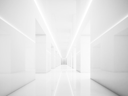 Empty white corridor in museum interior, with lights and space