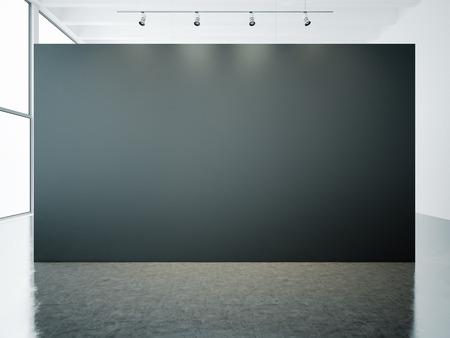 Empty white gallery interior with black canvas