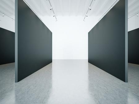 gallery interior: Empty white gallery interior with black canvas