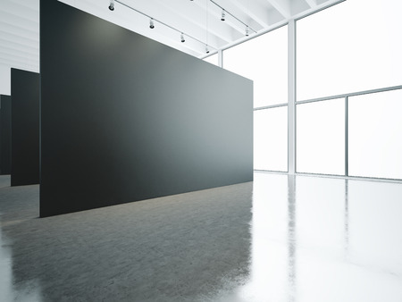 panoramic windows: Empty white gallery interior with black canvas and panoramic windows Stock Photo