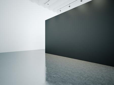 Museum empty white gallery interior with black canvas Фото со стока