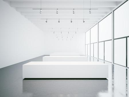 gallery interior: Empty white gallery interior with concrete floor and panoramic windows Stock Photo