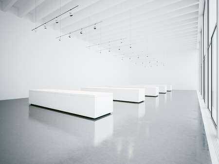 exhibition: Empty white gallery interior with concrete floor and panoramic windows Stock Photo