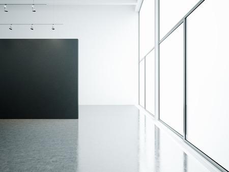 panoramic windows: Empty white gallery interior with black canvas and panoramic windows Stock Photo