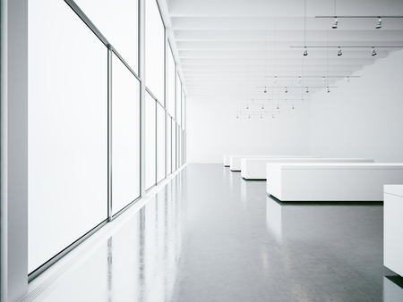 white interior: Empty white gallery interior with concrete floor and panoramic windows Stock Photo