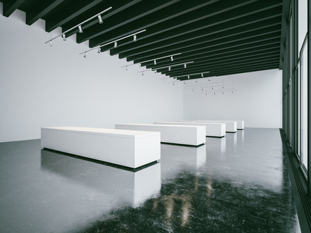 panoramic windows: Empty white gallery interior with concrete floor and panoramic windows Stock Photo