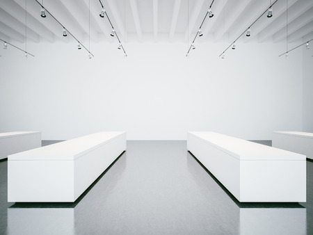 gallery interior: View on the empty white gallery interior with concrete floor Stock Photo