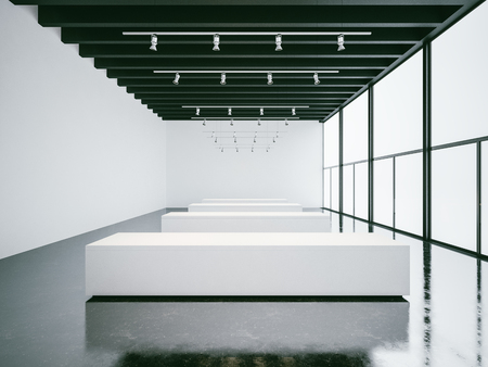 art museum: Empty white gallery interior with concrete floor and panoramic windows Stock Photo