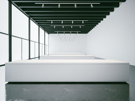 panoramic windows: Empty white gallery interior with concrete floor and panoramic windows, black ceiling