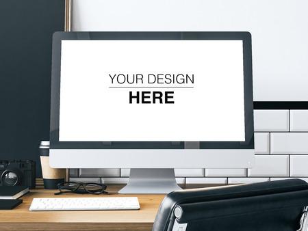 ジェネリック デザイン コンピューター画面、本、カメラ、テーブルの上の黒板を持つワークスペース。