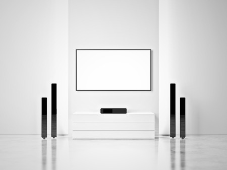 sound system: Open space interior with sound system and plasma panel Stock Photo