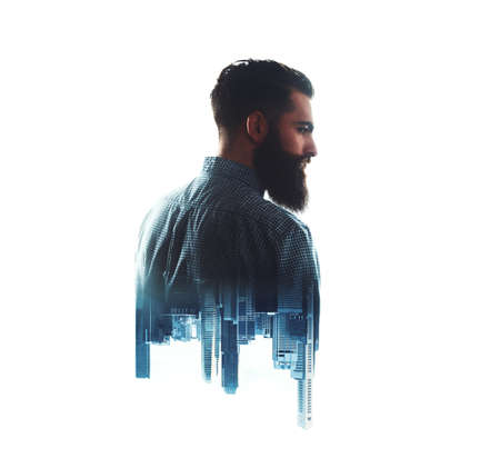 white beard: Double exposure concept with bearded man and city on the background